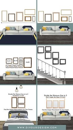 Let me help you create a dream gallery wall layout that will suit your home and your style best with these ideas. I am here to give you anything you need to arrange your gallery wall and the answer to all your questions. For example, how height should I hang? What should be the space between wall decors? And ready-to-use templates to help you create a gallery wall in your living room, bedroom, or hall. Here we go! #gallerywall #layout #stairs #gallerrywalllayout #homedecor Gallery Wall Layout, Decorating Coffee Tables, Furniture Decor, Bookcase, Wall Decor, Living Room, Pillows, Bedroom, Stairs