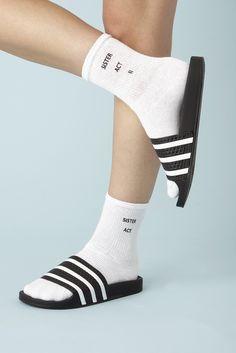 Screen Printed White Crew Socks.$9 eachor3 for $23