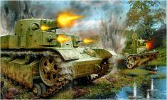 T-28 durante la batalla en Dubno. julio de 1941. Valery Petelin. El T-28 tanque de apoyo a la infantería, ideado para atravesar líneas fortificadas, fue diseñado para complementar al tanque pesado T-35, toda la producción llevaba radio incorporada lo que era una novedad para la época. Más en www.elgrancapitan.org/foro/