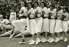 #tbt During World War II women began to become more involved in cheerleading. Read more cheerleading History: http://bit.ly/CheerleadingHistory #cheerleading #cheer