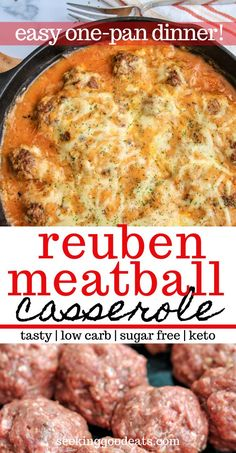 one pan dinner Reuben Bake With Meatballs (Keto Reuben Casserole) is so delicious baked with sauerkraut, thousand island, and melted swiss cheese. Simple and easy to make for weeknight d Reuben Casserole, Keto Casserole, Casserole Recipes, Skillet Recipes, Low Carb Dinner Recipes, Lunch Recipes, Keto Dinner, Dessert Recipes, Ketogenic Recipes
