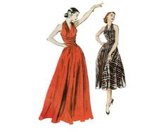 Elegant Cross Waist, Fitted Bodice, Flared Gown pattern - 1952 (reissued 2006) Complete, original, Butterick Retro #4919