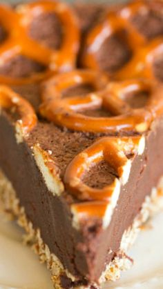 Salted Dark Chocolate Pretzel Truffle Cake ~ A crushed pretzel crust topped with a salted dark chocolate truffle-like filling, topped off with even more pretzels.
