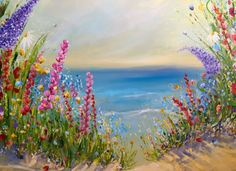 There is so much around us everyday, Ok it may not be this view, but wherever we live there is beauty if we stop and look for it. A large sea scape, bursting dunes with colour... Painted on a lar...