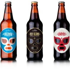 Beer bottle labels by Jose Guizar. In such a competitive market, where many pick a product due to it's cool label, these mask designs stand out. I don't even like beer - but I'd buy these.