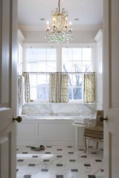 I want the marble floor with the dark gray pendants. also like the honed calcutta marble for counter tops. Cafe Curtains, Diy Curtains, Window Curtains, Guest Bathrooms, Upstairs Bathrooms, Relaxing Bathroom, Marble Floor, Luxury Bath, Traditional Bathroom