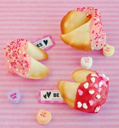 Pink and Red Fortune Cookies for Valentine's Day or Chinese New Year. I made