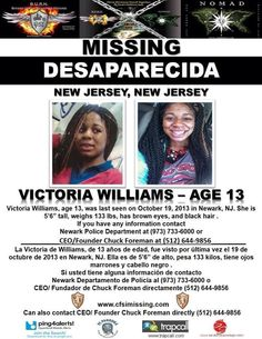 10/19/2013: Victoria Williams, 13, is missing from Newark, NJ.
