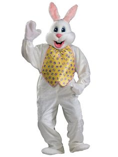 White Easter Bunny Mascot W Yellow Vest Adult Costume