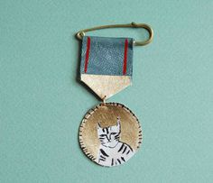 Hand painted leather medal brooch by datter on Etsy
