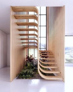 Two flights of stairs flow seamlessly into one another in this sleek sculptural staircase designed by Mexican architecture studio Arquitectura en Movimiento. Architecture Design, Contemporary Architecture, Amazing Architecture, Staircase Architecture, Contemporary Stairs, Modern Stairs, Garden Architecture, Biophilic Architecture, Natural Architecture