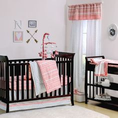 Coral Pink Tribal Print Geometric 4 Piece Crib Bedding Set by The Peanut Shell for sale online Coral Baby Bedding, Baby Girl Crib Bedding, Cute Bedding, Girl Cribs, Baby Cribs, Girls Bedding Sets, Nursery Bedding Sets, Crib Sets, Bedding Shop