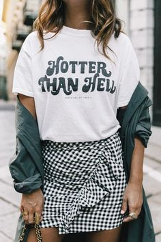 hotter than hell tee with gingham ruffle skirt