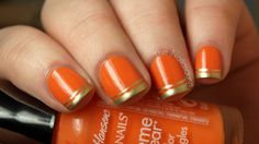 Orange with gold tips. Looks simple I am actually going to attempt to do this for Thanksgiving.