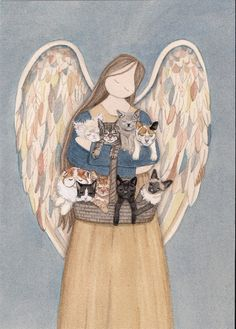 Standing angel cradles cats (persian, siamese, tuxedo, black, white, grey, tiger, calico, tabby) / Lynch signed folk art print