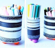 alisaburke: tin can vases Office Organization, Organized Office, Tin Can Alley, Alisa Burke, Altered Tins, Vases, Diy, Metal, Crafty