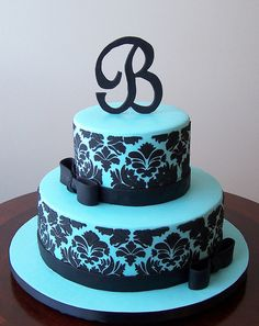 Tiffany blue and black damask cake : )