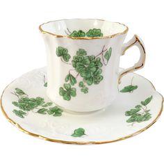 Hammersley Bone China England Lucky Shamrock Teacup and Saucer Tea Cup Set, Tea Cup Saucer, Tea Sets, Vintage Dinnerware, Vintage Tableware, Bone China Tea Cups, Vintage Cups, Antique China, Tea Party