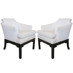 Pair of White Hollywood Regency Armchairs with Studs