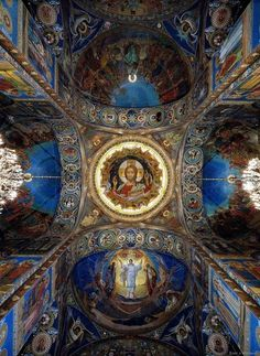 View of the Onion Dome Mosaic by Nesterov in the Church of Saviour in Blood, St. Petersburg