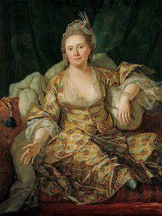 Antoine de Favray (French painter, 1706-1792) Annette Comtesse de Vergennes in Turkish Gown