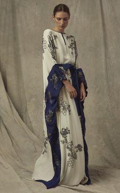 Metallic-embroidered silk georgette caftan with self-tie belt by Marchesa Abaya Fashion, Kimono Fashion, Fashion Dresses, Lolita Fashion, Caftan Dress, Silk Dress, Look Fashion, Daily Fashion, Mode Abaya