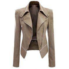 Fashionable Turn-Down Collar Zippered Long Sleeve PU Leather Jacket