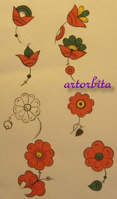 Рисунок. Цветы - тюльпаны - пермогорская роспись