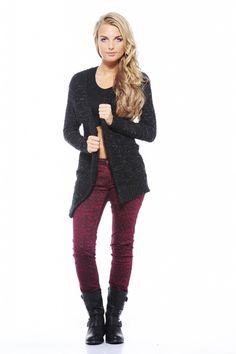 Black Popcorn Cardigan at www.ustrendy.com #knit #sweater #fall #fashion