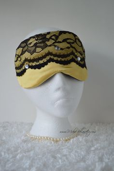 Couture Satin/Lace Mask ~ Yellow Gold/Black w/Bling ~ Travel, Sleep, etc ~ Bridal Party, Evening Wear, Gift ~ Light Blocking ~ READY TO SHIP