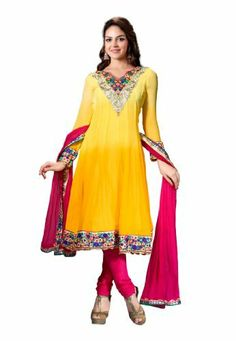 Fabdeal Indian Designer Yellow & Pink Pure Georgette Embroidered Salwar Kameez Fabdeal, http://www.amazon.de/dp/B00IL75C20/ref=cm_sw_r_pi_dp_Cl9otb1WR83MV