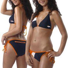 Denver Broncos Ladies Navy Blue 2-Piece Bikini Swimsuit