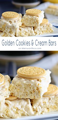 Golden Cookies & Cream Bars : Best Yummy Bar Recipes ever! Just like the best krispies treat you have ever had - only with golden Oreos instead! No bake- super easy! Bar Recipes, Baking Recipes, Cookie Recipes, Dessert Recipes, Oreo Desserts, Plated Desserts, Sweet Recipes, Cereal Treats, Gourmet