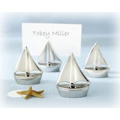 """""""Shining Sails"""" Silver Place Card Holders (Set of Four) 