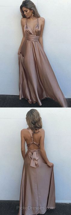 Long Prom Dresses Sexy, 2018 Prom Dresses For Teens Cheap, A-line Evening Party Dresses V-neck, Ankle-length Formal Pageant Dresses Silk-like Satin with Ruffles
