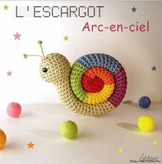 Amigurumi Snail Crochet Free Patterns: Roll Up snails, heart snails, mini snails, video tutorial Crochet Diy, Crochet Snail, Rainbow Crochet, Crochet Amigurumi, Amigurumi Patterns, Crochet Animals, Crochet Crafts, Crochet Dolls, Crochet Projects