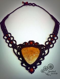 macrame necklace with carnelian stones