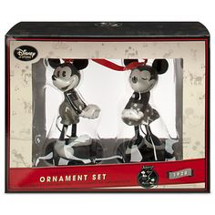 Red Ribbon Accented Gray Disney Ornaments - Ornament Reviews
