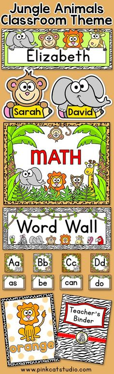 Create a fun and whimsical jungle or zoo themed classroom with this quality décor set. There are over 300 pages of printable fun in this value packed theme! By Pink Cat Studio Classroom Jobs, Classroom Design, Classroom Displays, Preschool Classroom, Classroom Decor, Ideas Decoracion Salon, Teacher Binder Covers, Jungle Theme Classroom, Math Word Walls