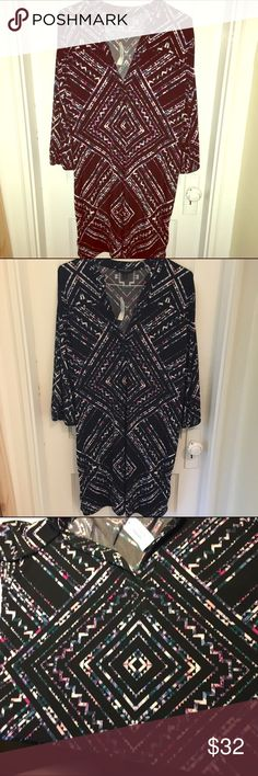 Banana Republic geometric pattern shift dress Lightweight black shift dress with beautiful geometric pattern all over. Pattern has pink, purple, blue, white, and green colors. Lots of stretch and very flattering. V neck. New with tags. Banana Republic Dresses