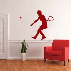 Tennis Vinyl Wall Decal by TrendyWallDesigns on Etsy, $24.95