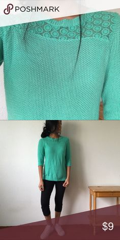 Turquoise mid sleeve top Crochet detailing along the top, in great condition, and ready to be shipped!!!📦 Tops Blouses