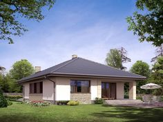 Projekt domu Aster 132,8 m2 - koszt budowy 241 tys. zł - EXTRADOM Villas, Cladding Design, Tiny Apartments, Small House Design, Home Design Plans, Bungalow, Gazebo, House Plans, Exterior