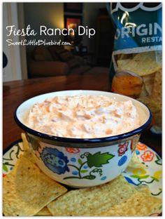 Fiesta Ranch Dip - Only 4 ingredients! |  SweetLittleBluebird.com