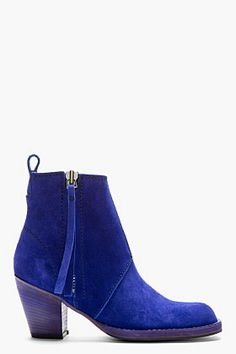 Acne Studios Indigo Blue Cuban-heel Suede Ankle Boot for women | SSENSE
