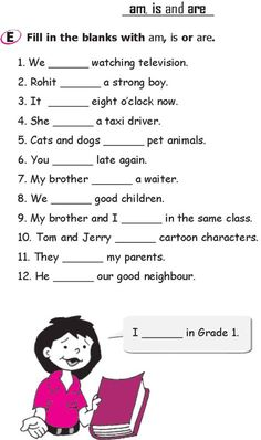 Reading/writing skills// Grade 1 Grammar Lesson 14 Verbs - am, is and are English Grammar For Kids, Learning English For Kids, Teaching English Grammar, English Worksheets For Kids, English Lessons For Kids, Kids English, 1st Grade Worksheets, English Activities, Grammar Lessons