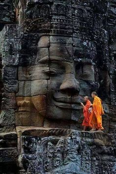 Bayon Temple in the ancient city of Angkor Thom, Cambodia, 1,200