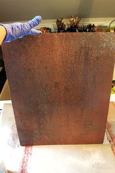 Inexpensive Faux Copper and Patina Metal (Pretty Handy Girl) Paint Backsplash, Copper Backsplash, Herringbone Backsplash, Backsplash Wallpaper, Backsplash Cheap, Copper Wallpaper, Beadboard Backsplash, Kitchen Backsplash, Patina Paint