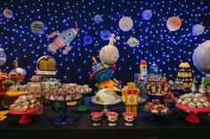 Themes for birthday parties according to age for child, ideas for 1 year old children's parties, birthday decoration for 2 year old child, such as Baby Birthday, 1st Birthday Parties, Space Baby Shower, Astronaut Party, Outer Space Party, Baby Party, Birthday Decorations, First Birthdays, Creations