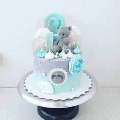 Baby Boy 1st Birthday Party, Baby Birthday Cakes, Baby Shower Cakes For Boys, Baby Boy Cakes, Big Cakes, Crazy Cakes, Baby Elephant Cake, Gateau Baby Shower, Baby Shower Baskets